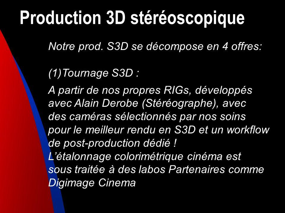 Production 3D stéréoscopique Notre prod. S3D se décompose en 4 offres: (1)Tournage S3D : A partir de nos propres RIGs, développés avec Alain Derobe (S