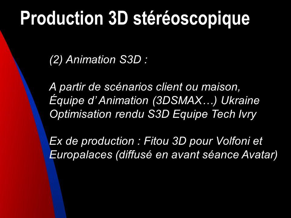 Production 3D stéréoscopique (2) Animation S3D : A partir de scénarios client ou maison, Équipe d Animation (3DSMAX…) Ukraine Optimisation rendu S3D E
