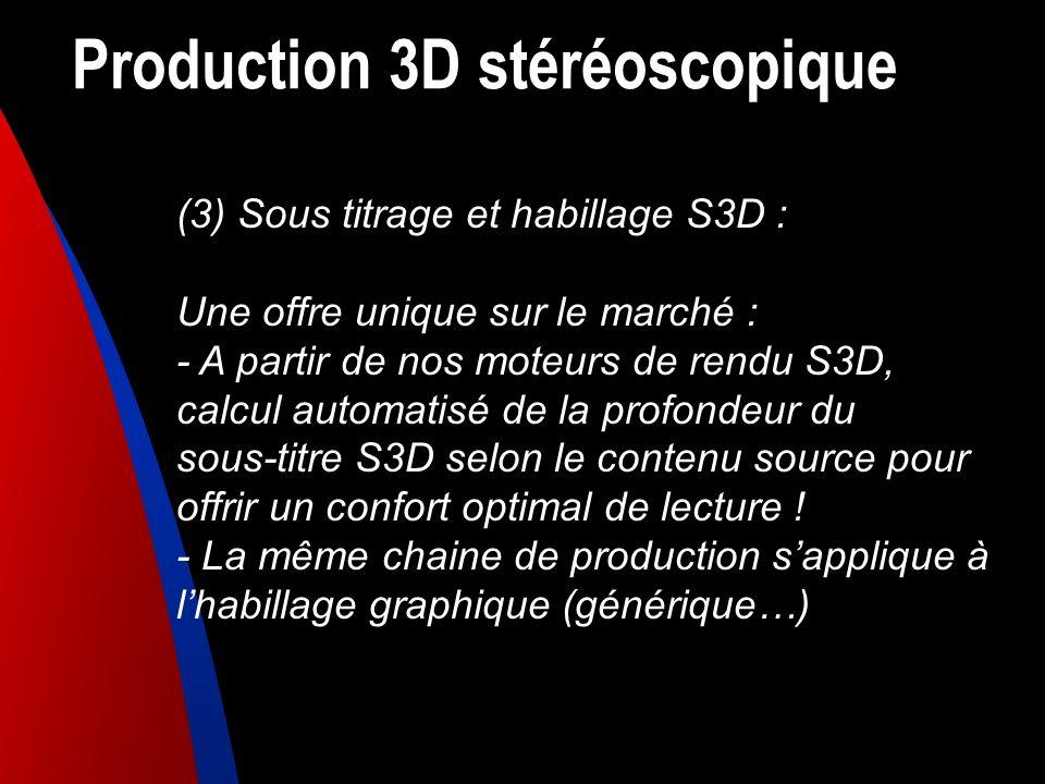 Production 3D stéréoscopique (3) Sous titrage et habillage S3D : Une offre unique sur le marché : - A partir de nos moteurs de rendu S3D, calcul autom