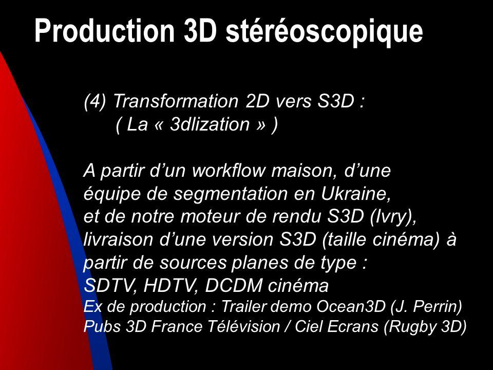 Production 3D stéréoscopique (4) Transformation 2D vers S3D : ( La « 3dlization » ) A partir dun workflow maison, dune équipe de segmentation en Ukrai