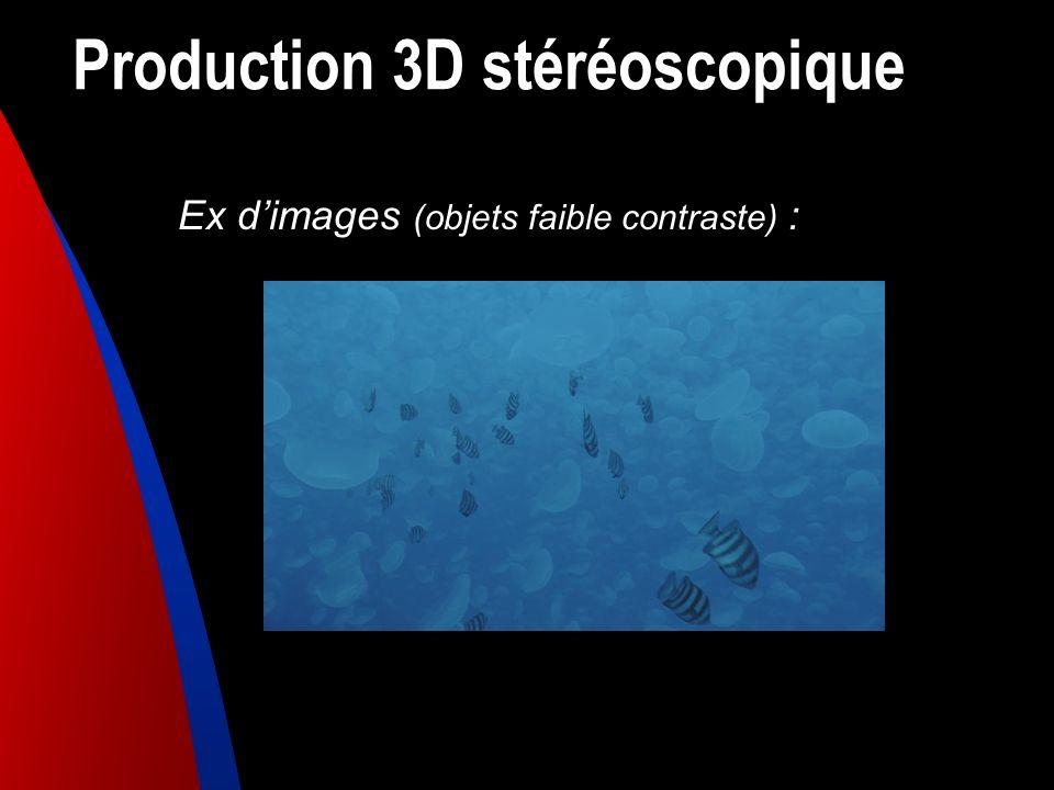 Production 3D stéréoscopique Ex dimages (objets faible contraste) :