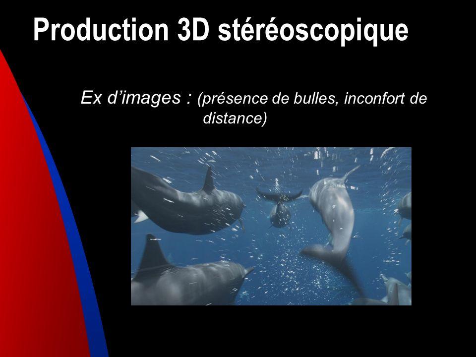 Production 3D stéréoscopique Ex dimages : (présence de bulles, inconfort de distance)