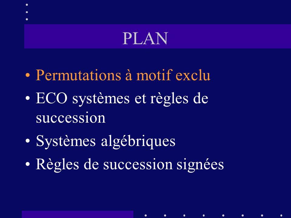 PLAN Permutations à motif exclu ECO systèmes et règles de succession Systèmes algébriques Règles de succession signées