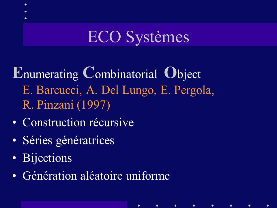 ECO Systèmes E numerating C ombinatorial O bject E. Barcucci, A. Del Lungo, E. Pergola, R. Pinzani (1997) Construction récursive Séries génératrices B