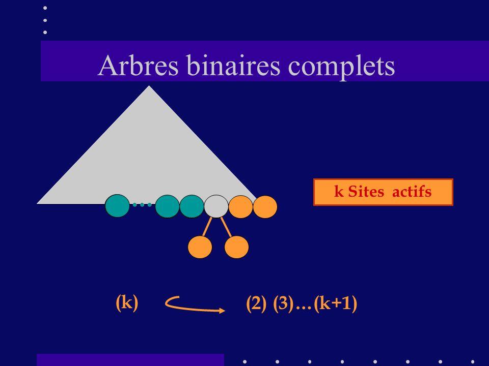 Arbres binaires complets …… (k) (2) (3)…(k+1) k Sites actifs