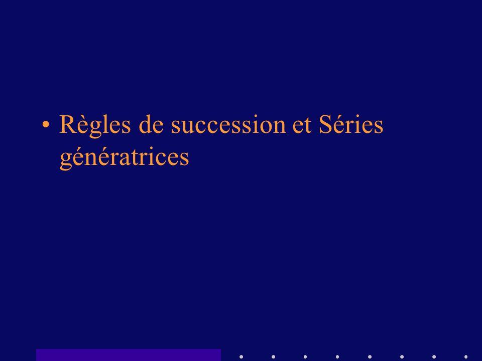 Règles de succession et Séries génératrices