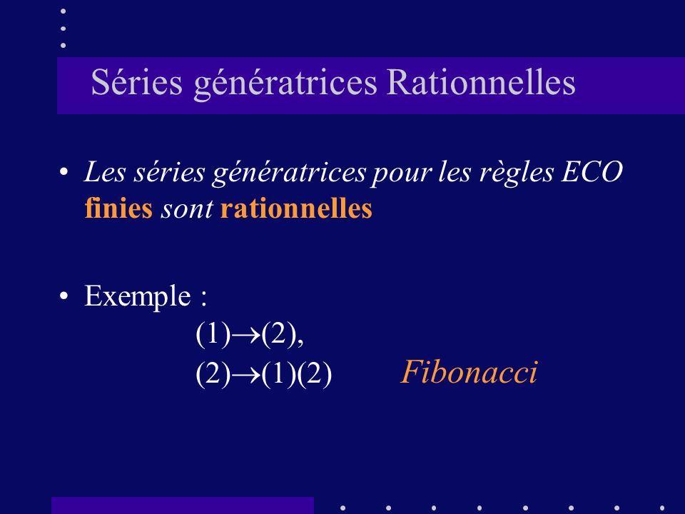 Séries génératrices Rationnelles Les séries génératrices pour les règles ECO finies sont rationnelles Exemple : (1) (2), (2) (1)(2) Fibonacci