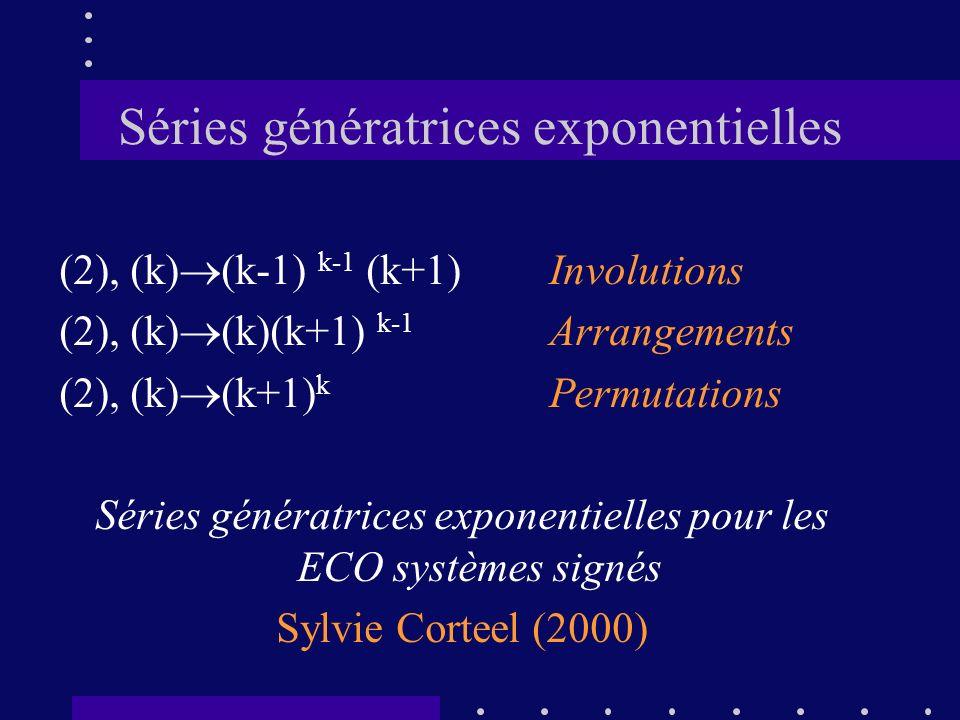 Séries génératrices exponentielles (2), (k) (k-1) k-1 (k+1)Involutions (2), (k) (k)(k+1) k-1 Arrangements (2), (k) (k+1) k Permutations Séries générat