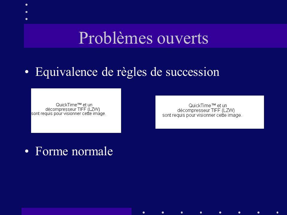 Problèmes ouverts Equivalence de règles de succession Forme normale