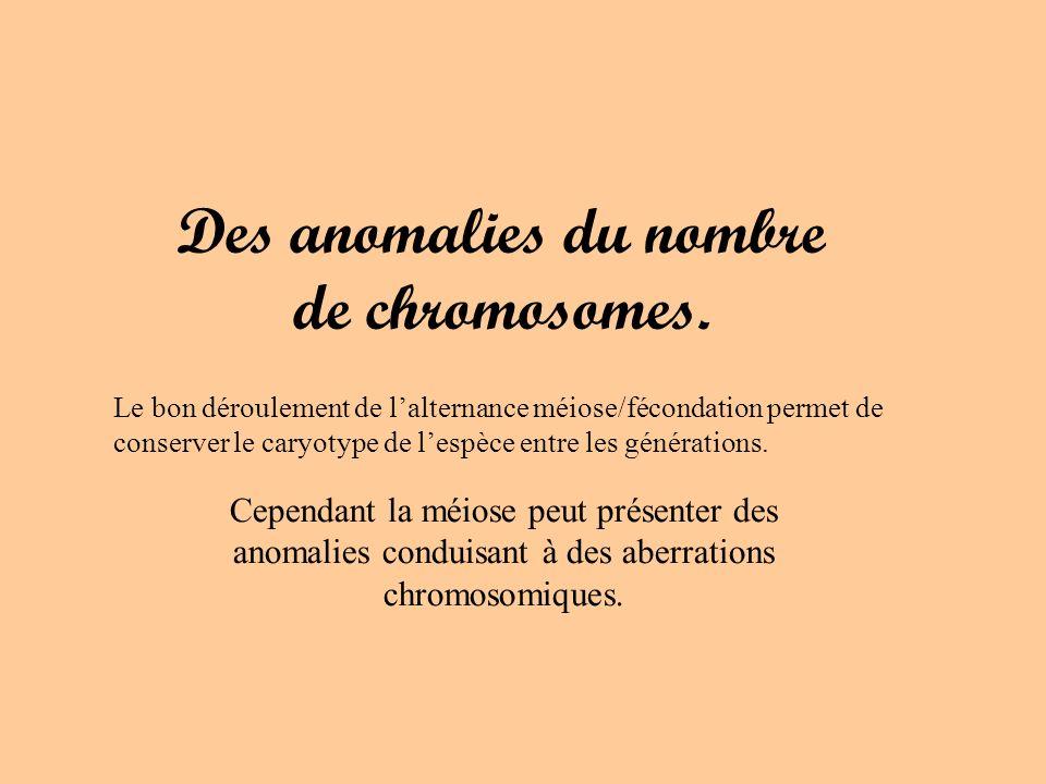 Des anomalies du nombre de chromosomes. Cependant la méiose peut présenter des anomalies conduisant à des aberrations chromosomiques. Le bon dérouleme