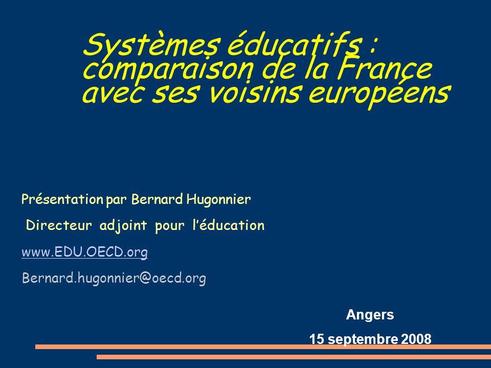 Systèmes éducatifs : comparaison de la France avec ses voisins européens Présentation par Bernard Hugonnier Directeur adjoint pour léducation www.EDU.OECD.org Bernard.hugonnier@oecd.org Angers 15 septembre 2008