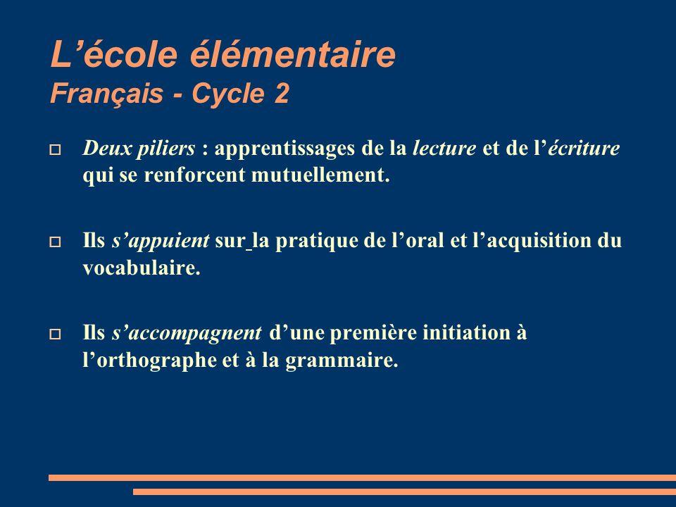 Lécole élémentaire Français - Cycle 2 Deux piliers : apprentissages de la lecture et de lécriture qui se renforcent mutuellement. Ils sappuient sur la