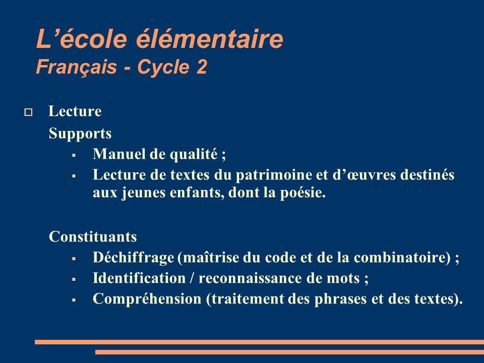 Lécole élémentaire Français - Cycle 2 Lecture Supports Manuel de qualité ; Lecture de textes du patrimoine et dœuvres destinés aux jeunes enfants, don