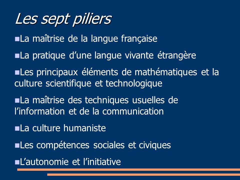 Les sept piliers La maîtrise de la langue française La pratique dune langue vivante étrangère Les principaux éléments de mathématiques et la culture s