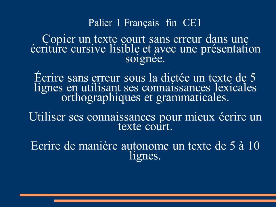 Palier 1 Français fin CE1 Copier un texte court sans erreur dans une écriture cursive lisible et avec une présentation soignée. Écrire sans erreur sou