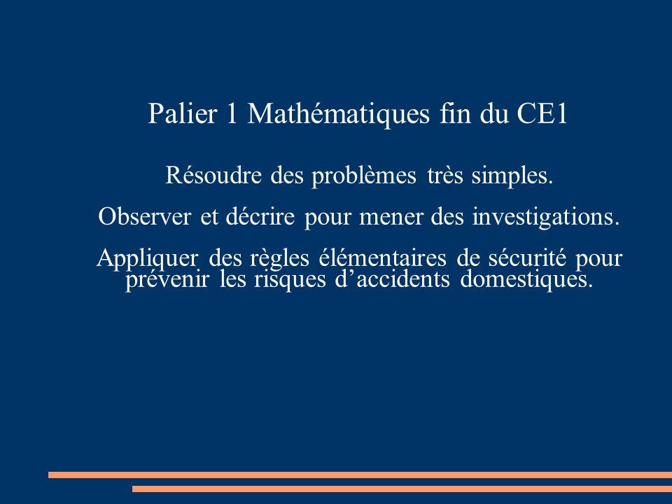 Palier 1 Mathématiques fin du CE1 Résoudre des problèmes très simples. Observer et décrire pour mener des investigations. Appliquer des règles élément
