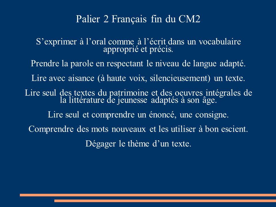 Palier 2 Français fin du CM2 Sexprimer à loral comme à lécrit dans un vocabulaire approprié et précis. Prendre la parole en respectant le niveau de la