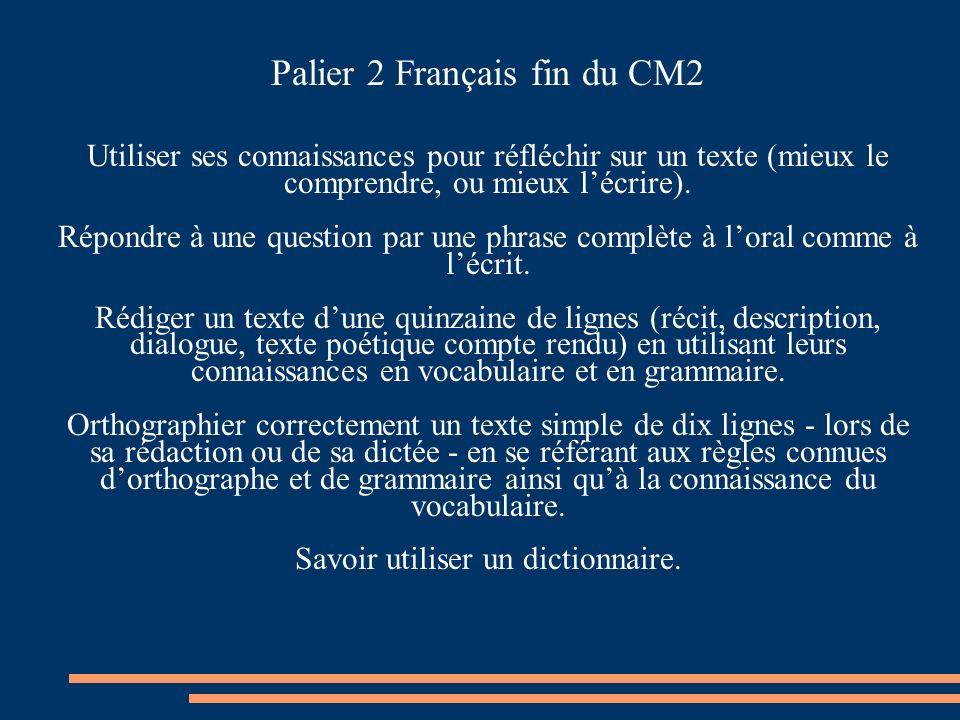 Palier 2 Français fin du CM2 Utiliser ses connaissances pour réfléchir sur un texte (mieux le comprendre, ou mieux lécrire). Répondre à une question p