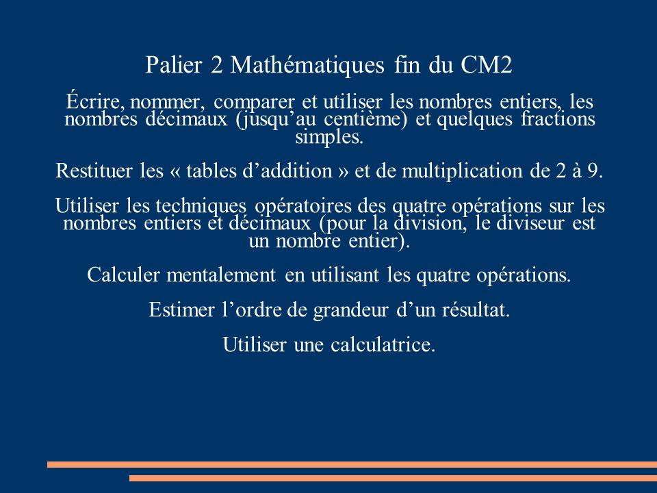 Palier 2 Mathématiques fin du CM2 Écrire, nommer, comparer et utiliser les nombres entiers, les nombres décimaux (jusquau centième) et quelques fractions simples.