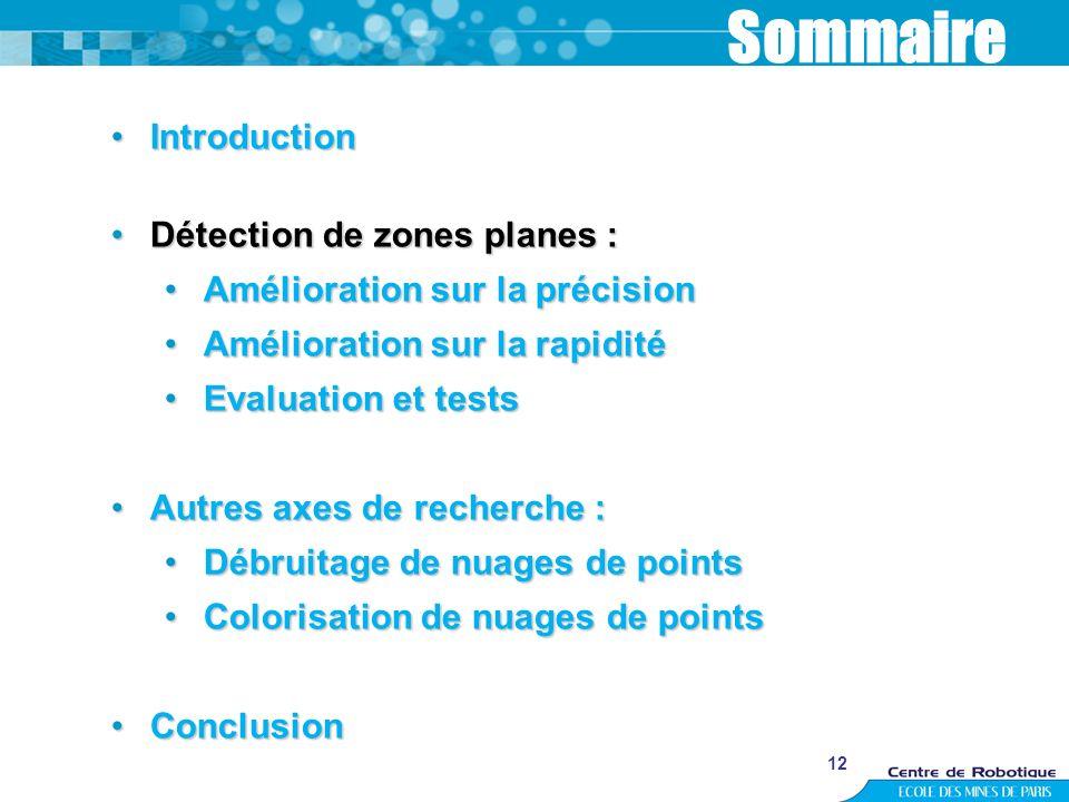 12 Sommaire IntroductionIntroduction Détection de zones planes :Détection de zones planes : Amélioration sur la précisionAmélioration sur la précision