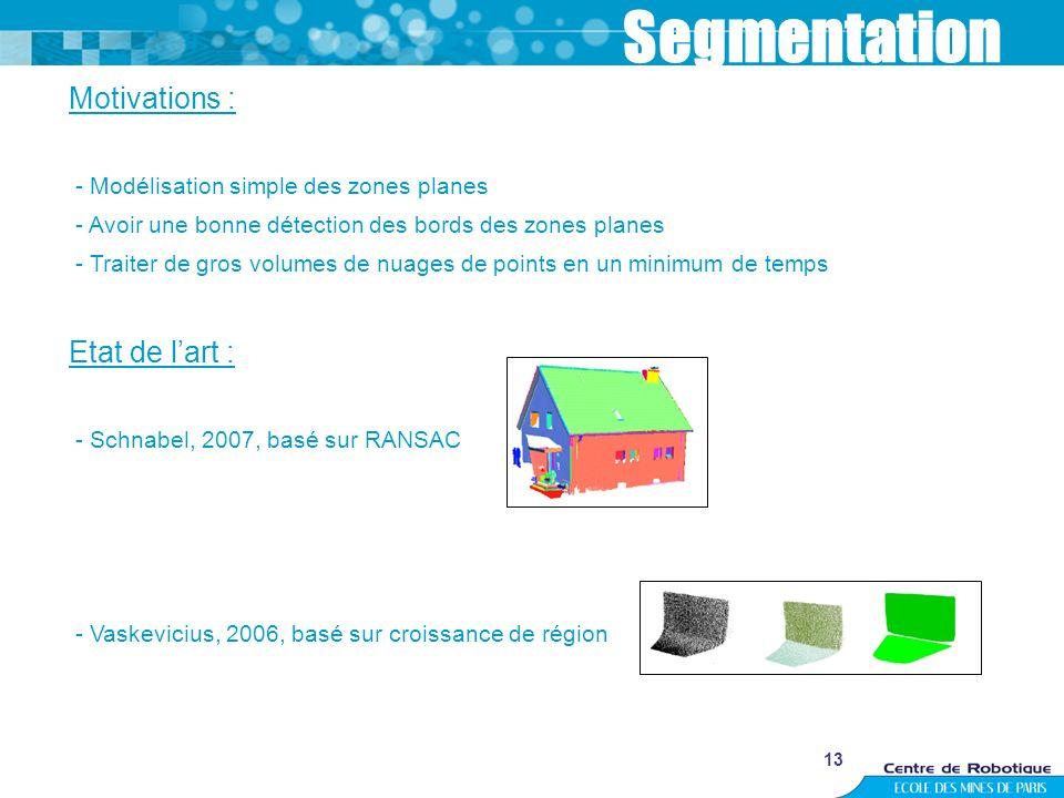 13 Segmentation Motivations : - Modélisation simple des zones planes - Avoir une bonne détection des bords des zones planes - Traiter de gros volumes