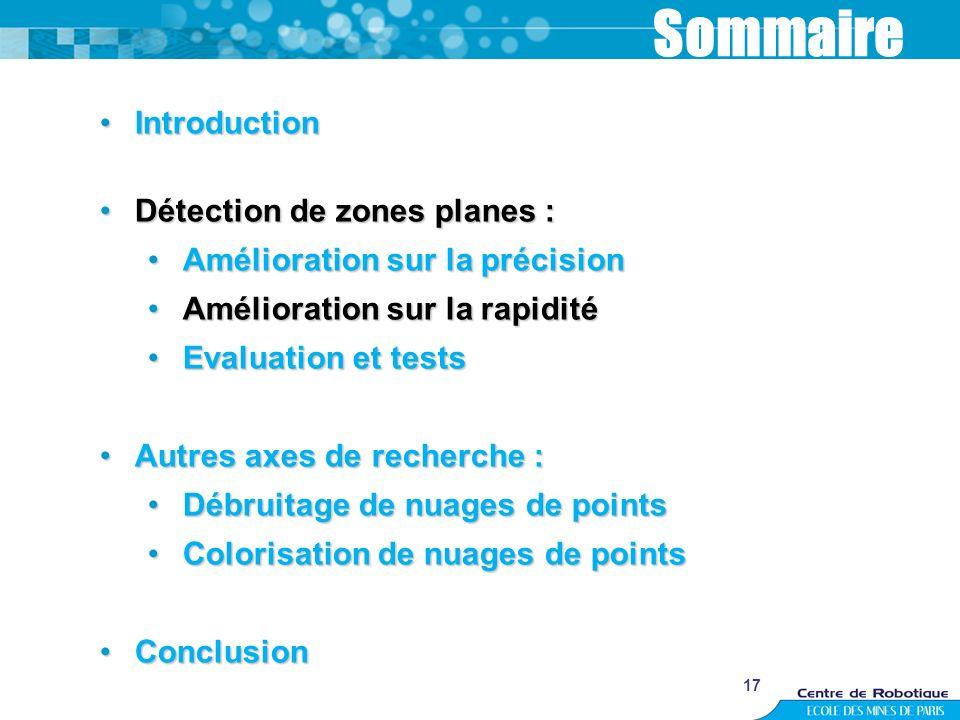 17 Sommaire IntroductionIntroduction Détection de zones planes :Détection de zones planes : Amélioration sur la précisionAmélioration sur la précision