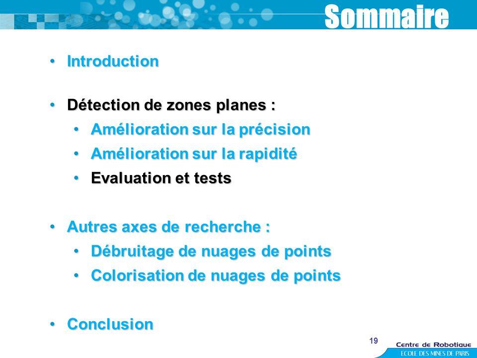 19 Sommaire IntroductionIntroduction Détection de zones planes :Détection de zones planes : Amélioration sur la précisionAmélioration sur la précision