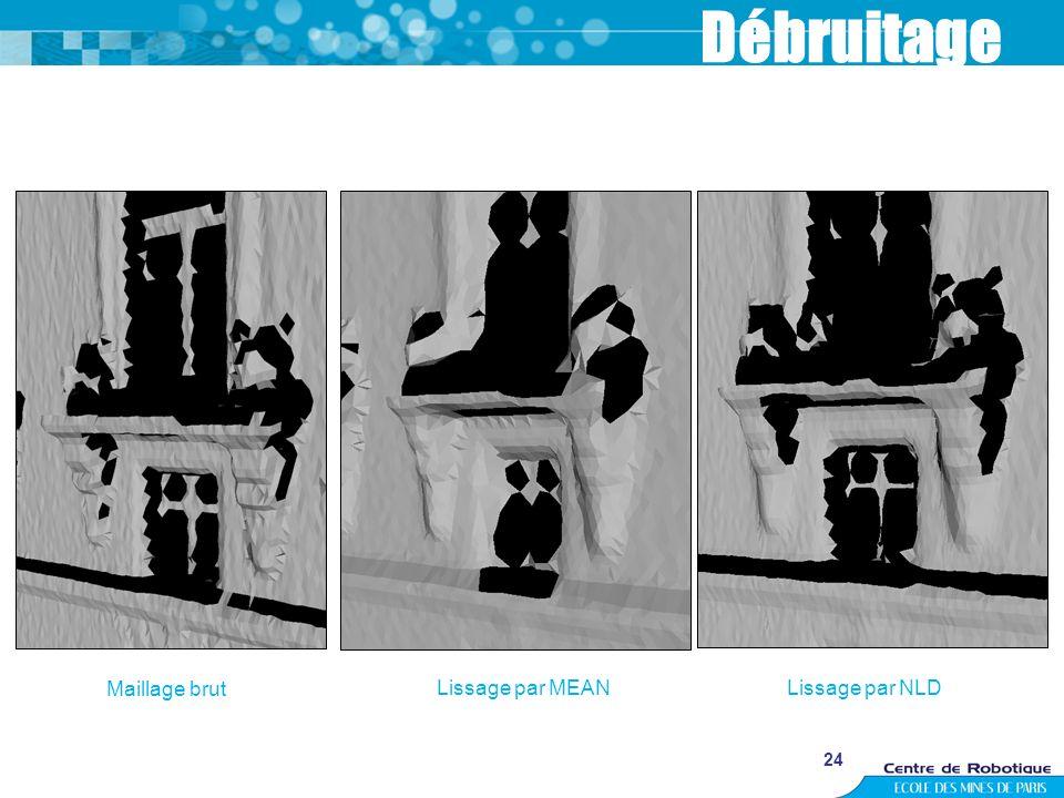 24 Débruitage Maillage brut Lissage par MEANLissage par NLD