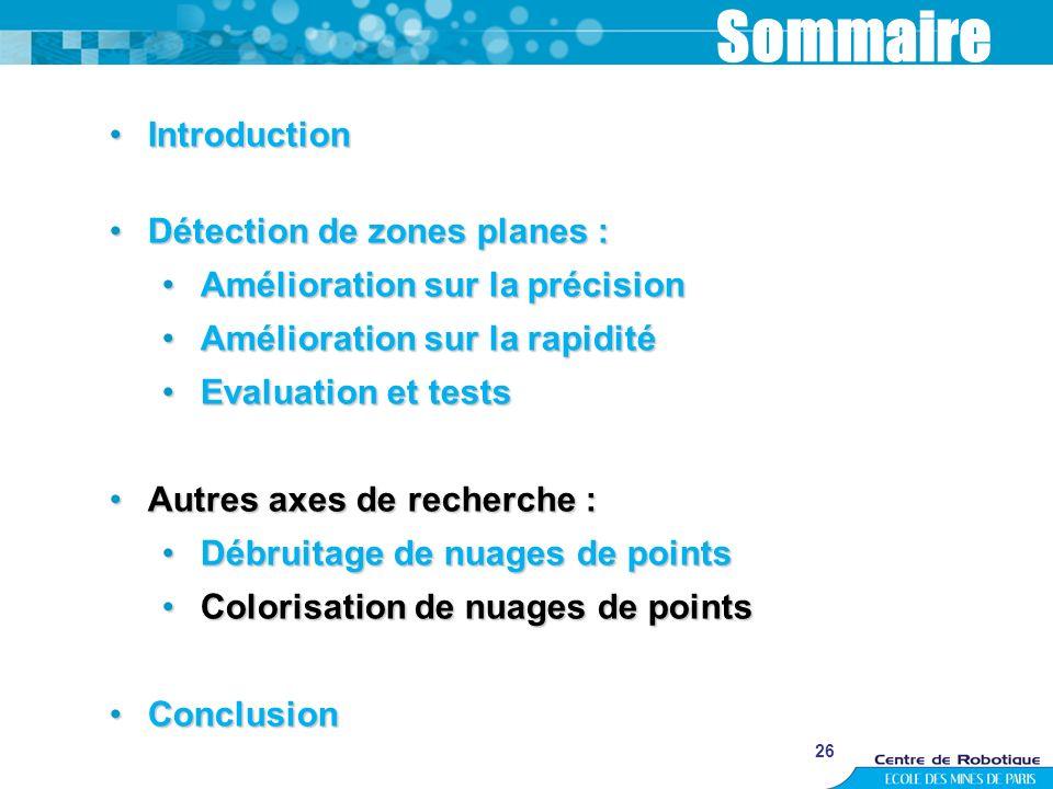 26 Sommaire IntroductionIntroduction Détection de zones planes :Détection de zones planes : Amélioration sur la précisionAmélioration sur la précision