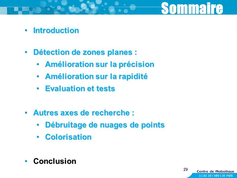 29 Sommaire IntroductionIntroduction Détection de zones planes :Détection de zones planes : Amélioration sur la précisionAmélioration sur la précision