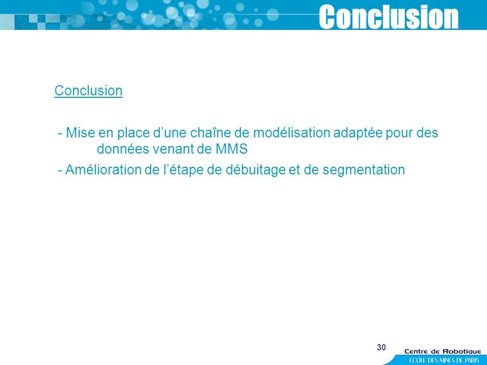 30 Conclusion - Mise en place dune chaîne de modélisation adaptée pour des données venant de MMS - Amélioration de létape de débuitage et de segmentat