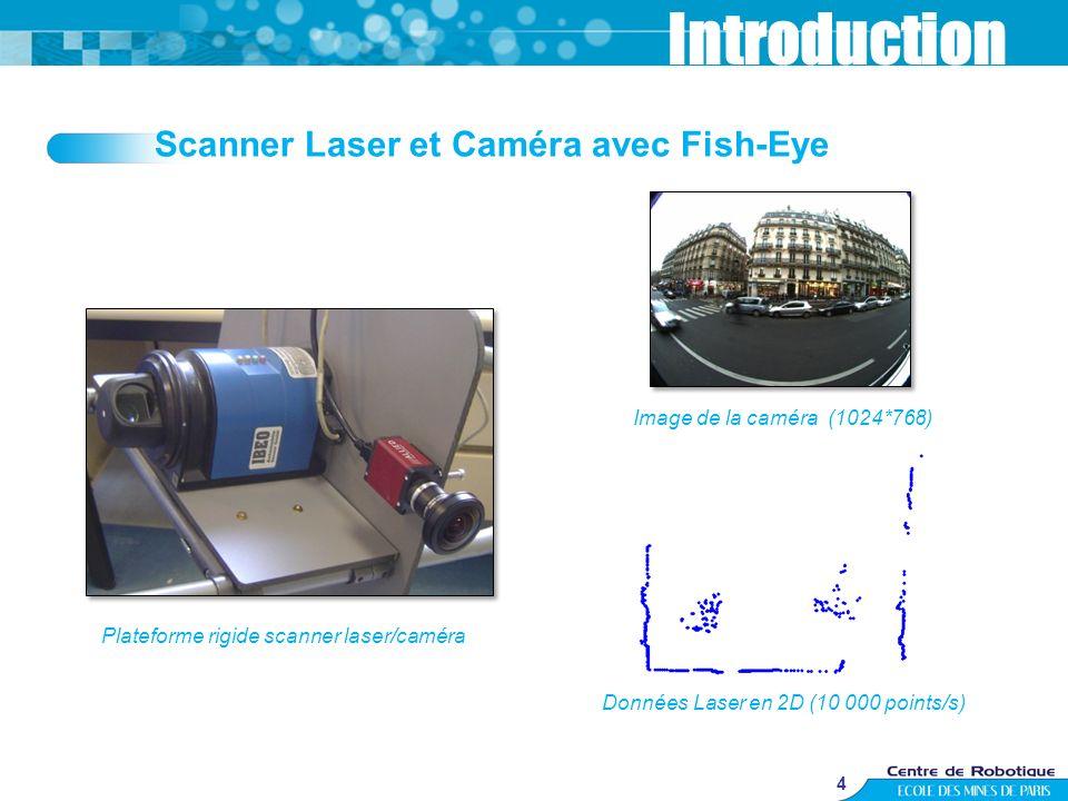 4 Scanner Laser et Caméra avec Fish-Eye Introduction Données Laser en 2D (10 000 points/s) Image de la caméra (1024*768) Plateforme rigide scanner las