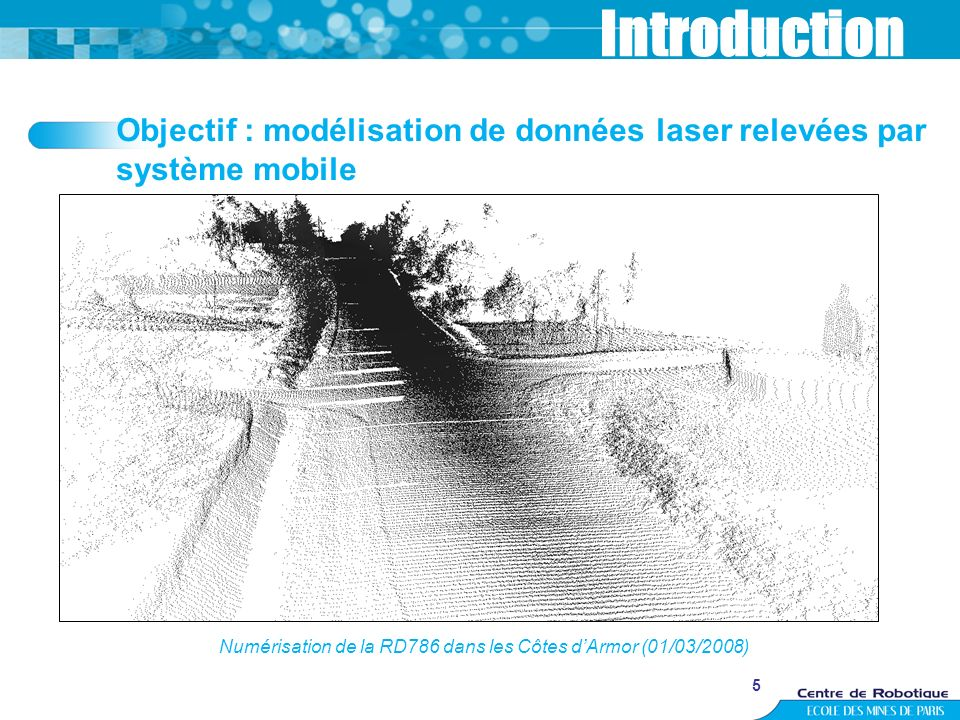 5 Introduction Numérisation de la RD786 dans les Côtes dArmor (01/03/2008) Objectif : modélisation de données laser relevées par système mobile