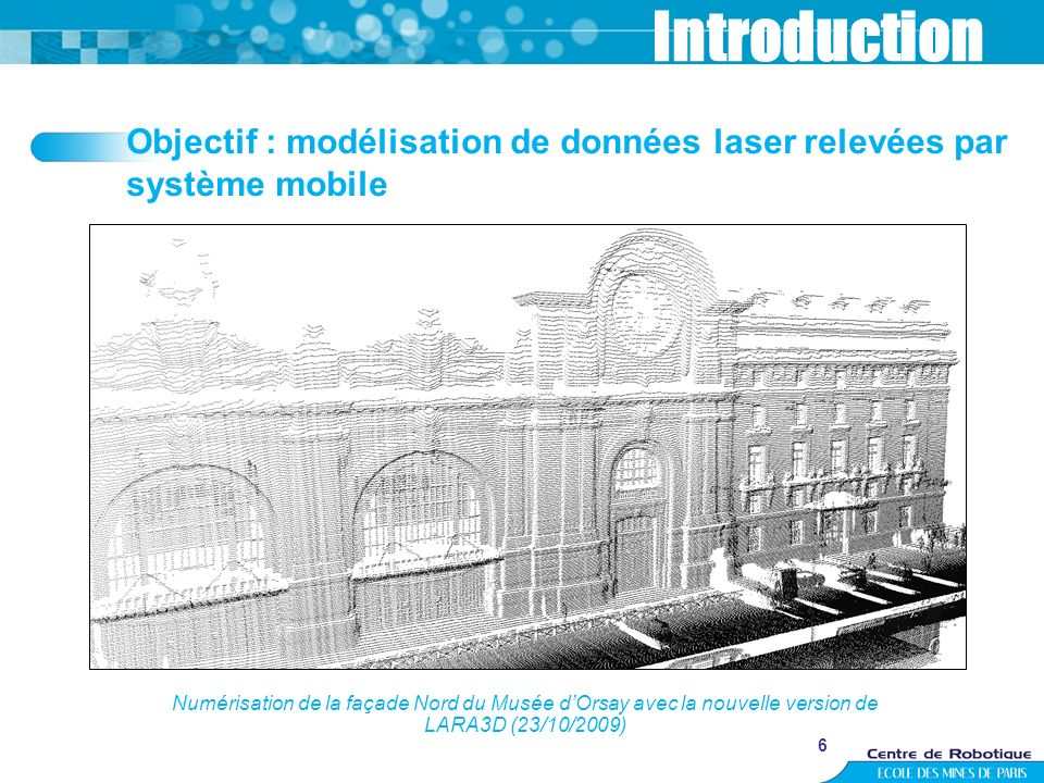 6 Introduction Numérisation de la façade Nord du Musée dOrsay avec la nouvelle version de LARA3D (23/10/2009) Objectif : modélisation de données laser