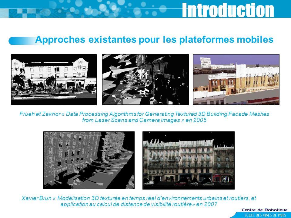 Approches existantes pour les plateformes mobiles Introduction Frueh et Zakhor « Data Processing Algorithms for Generating Textured 3D Building Facade