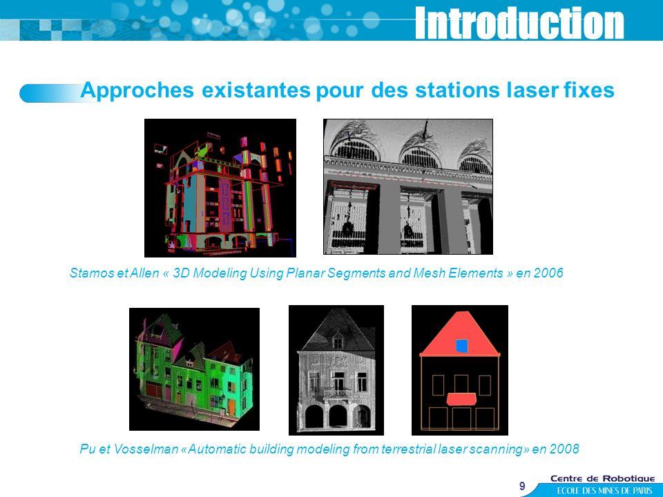 9 Approches existantes pour des stations laser fixes Introduction Stamos et Allen « 3D Modeling Using Planar Segments and Mesh Elements » en 2006 Pu e
