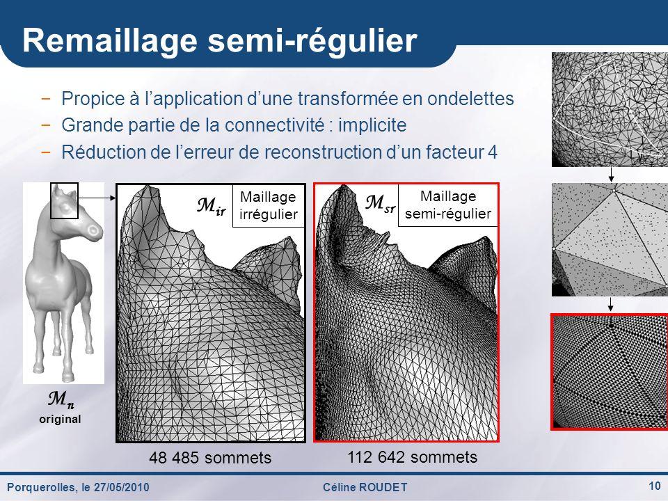 10 Remaillage semi-régulier 48 485 sommets 112 642 sommets M n original Maillage irrégulier M ir Maillage semi-régulier M sr Propice à lapplication du