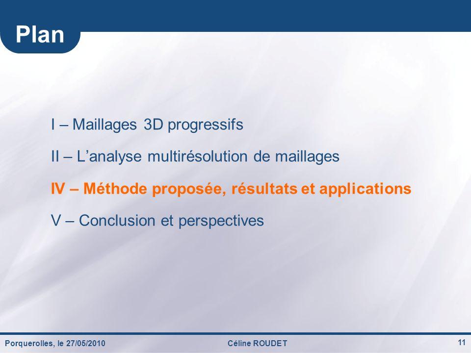 Porquerolles, le 27/05/2010Céline ROUDET 11 I – Maillages 3D progressifs II – Lanalyse multirésolution de maillages IV – Méthode proposée, résultats e