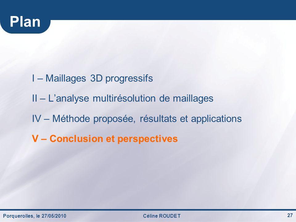Porquerolles, le 27/05/2010Céline ROUDET 27 I – Maillages 3D progressifs II – Lanalyse multirésolution de maillages IV – Méthode proposée, résultats e