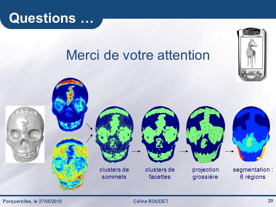Porquerolles, le 27/05/2010Céline ROUDET 29 Questions … Merci de votre attention segmentation : 6 régions clusters de sommets clusters de facettes pro