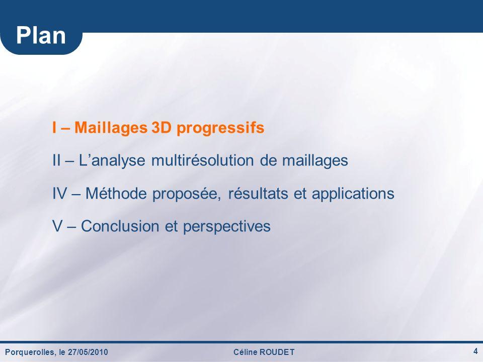 Porquerolles, le 27/05/2010Céline ROUDET 25 Résultats : adaptation spatiale de loptimisation PSNR (dB) Débit (bits / sommets irréguliers) 5 patchs 5 niveaux
