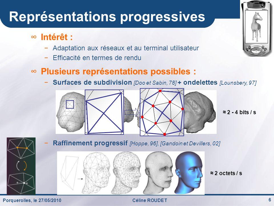 Porquerolles, le 27/05/2010Céline ROUDET 17 Progressivité de la reconstruction globale 0,20 bit / sommet 0,57 bit / sommet 1,27 bit / sommet 4,92 bits / sommet