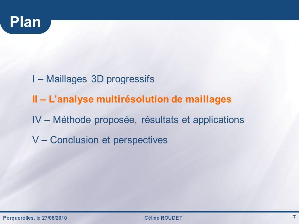 Porquerolles, le 27/05/2010Céline ROUDET 7 I – Maillages 3D progressifs II – Lanalyse multirésolution de maillages IV – Méthode proposée, résultats et