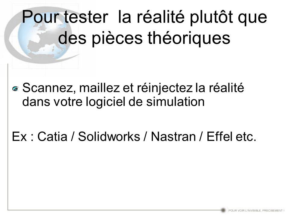 Pour tester la réalité plutôt que des pièces théoriques Scannez, maillez et réinjectez la réalité dans votre logiciel de simulation Ex : Catia / Solid