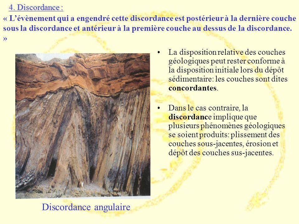La disposition relative des couches géologiques peut rester conforme à la disposition initiale lors du dépôt sédimentaire: les couches sont dites conc