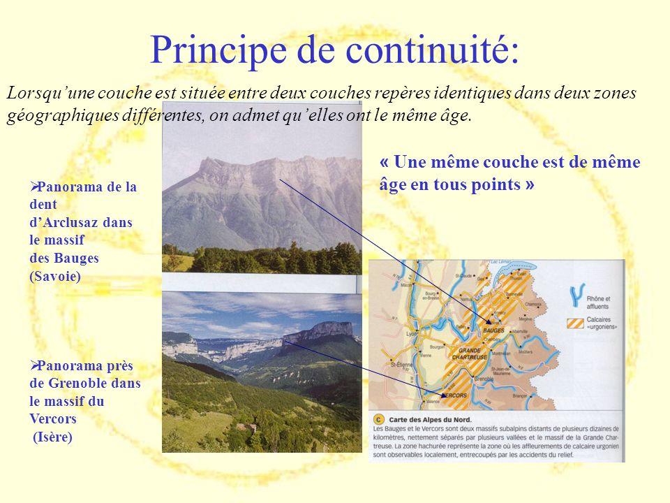Principe de continuité: Panorama de la dent dArclusaz dans le massif des Bauges (Savoie) Panorama près de Grenoble dans le massif du Vercors (Isère) «