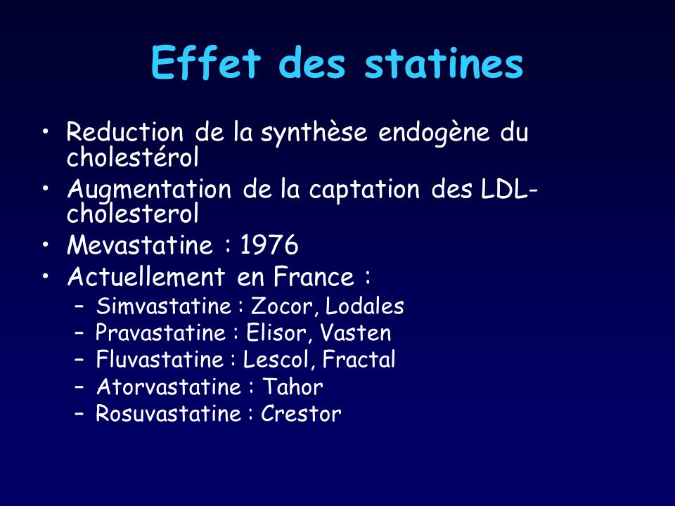 Effet des statines Reduction de la synthèse endogène du cholestérol Augmentation de la captation des LDL- cholesterol Mevastatine : 1976 Actuellement en France : –Simvastatine : Zocor, Lodales –Pravastatine : Elisor, Vasten –Fluvastatine : Lescol, Fractal –Atorvastatine : Tahor –Rosuvastatine : Crestor