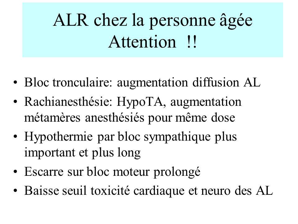 ALR chez la personne âgée Attention !! Bloc tronculaire: augmentation diffusion AL Rachianesthésie: HypoTA, augmentation métamères anesthésiés pour mê