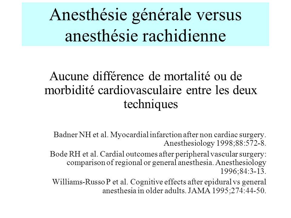 Anesthésie générale versus anesthésie rachidienne Aucune différence de mortalité ou de morbidité cardiovasculaire entre les deux techniques Badner NH