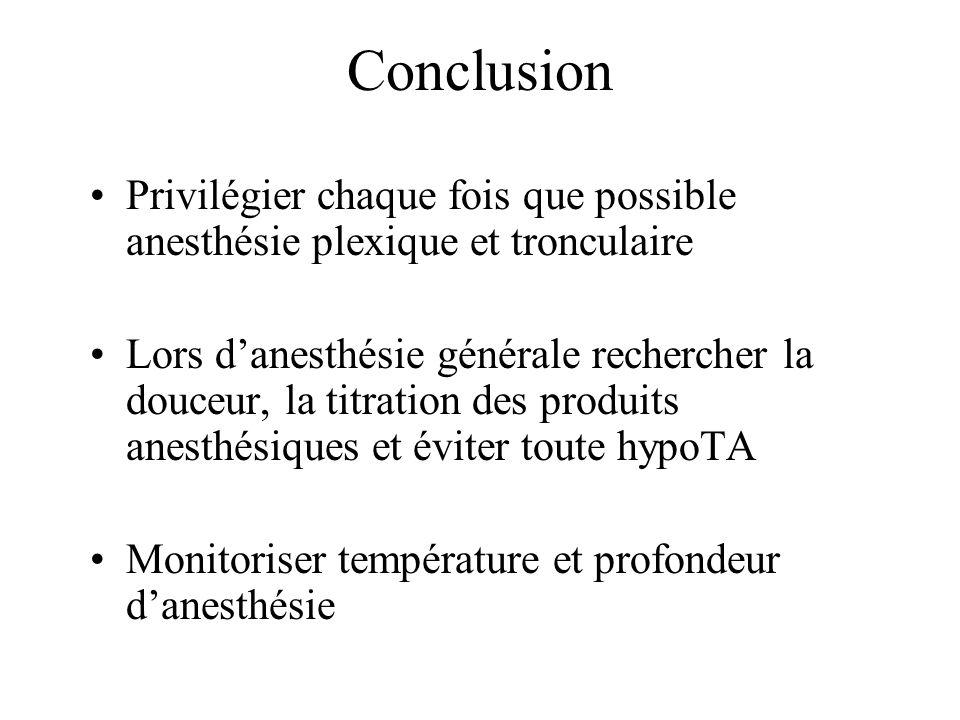 Conclusion Privilégier chaque fois que possible anesthésie plexique et tronculaire Lors danesthésie générale rechercher la douceur, la titration des p